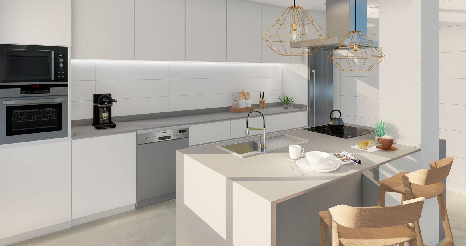 Modelo de cocina de la promoción Bilbao de viviendas de obra nueva