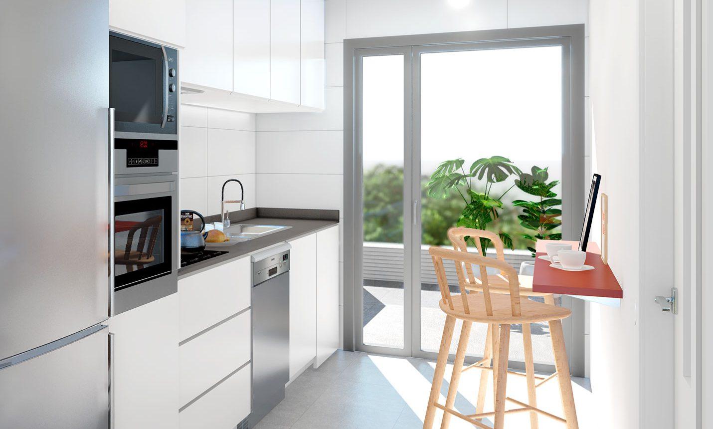 Cocina de obra nueva inmobiliaria Ciencasas