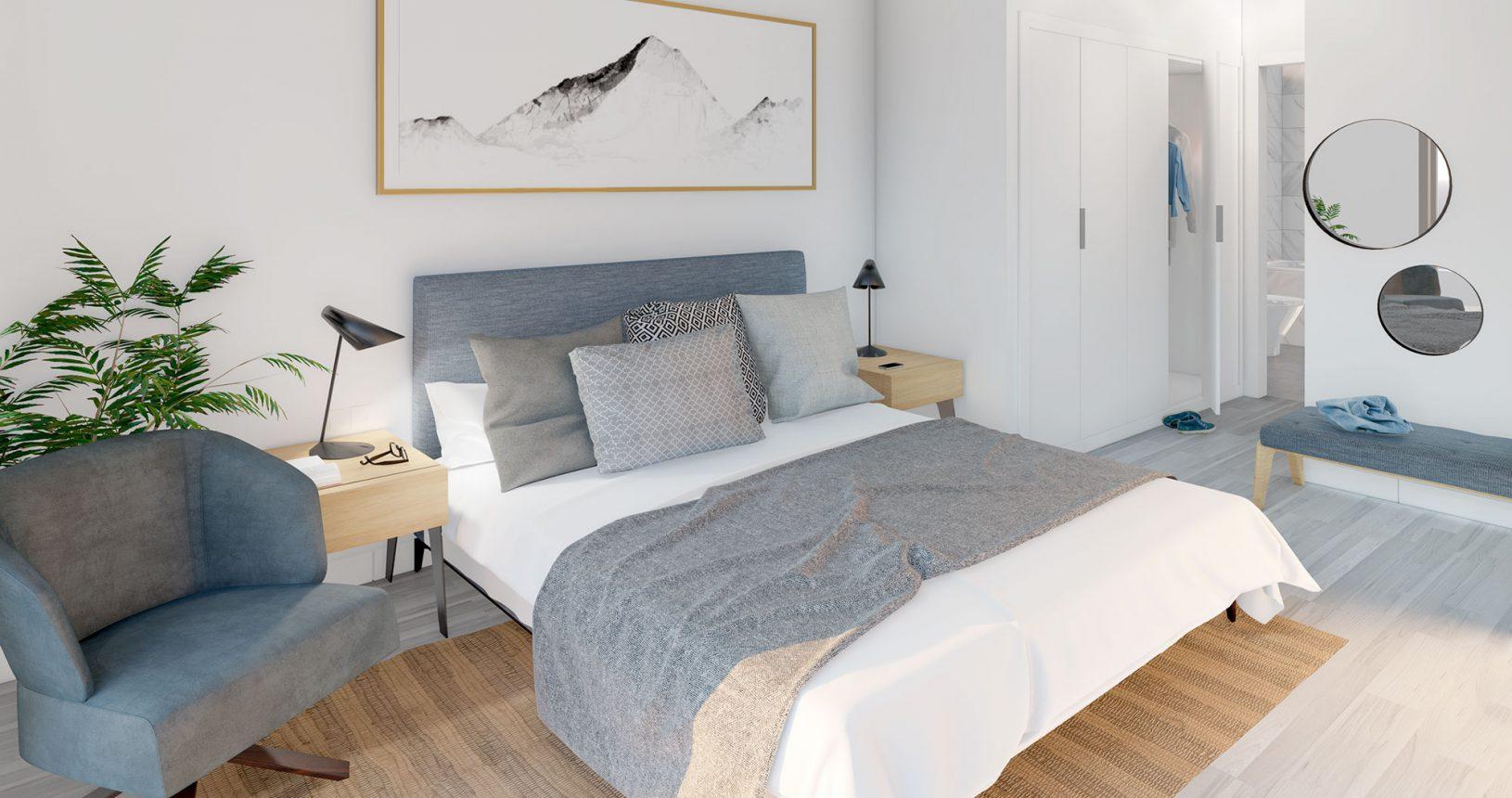 Dormitorio principal de promoción de viviendas en Paiporta