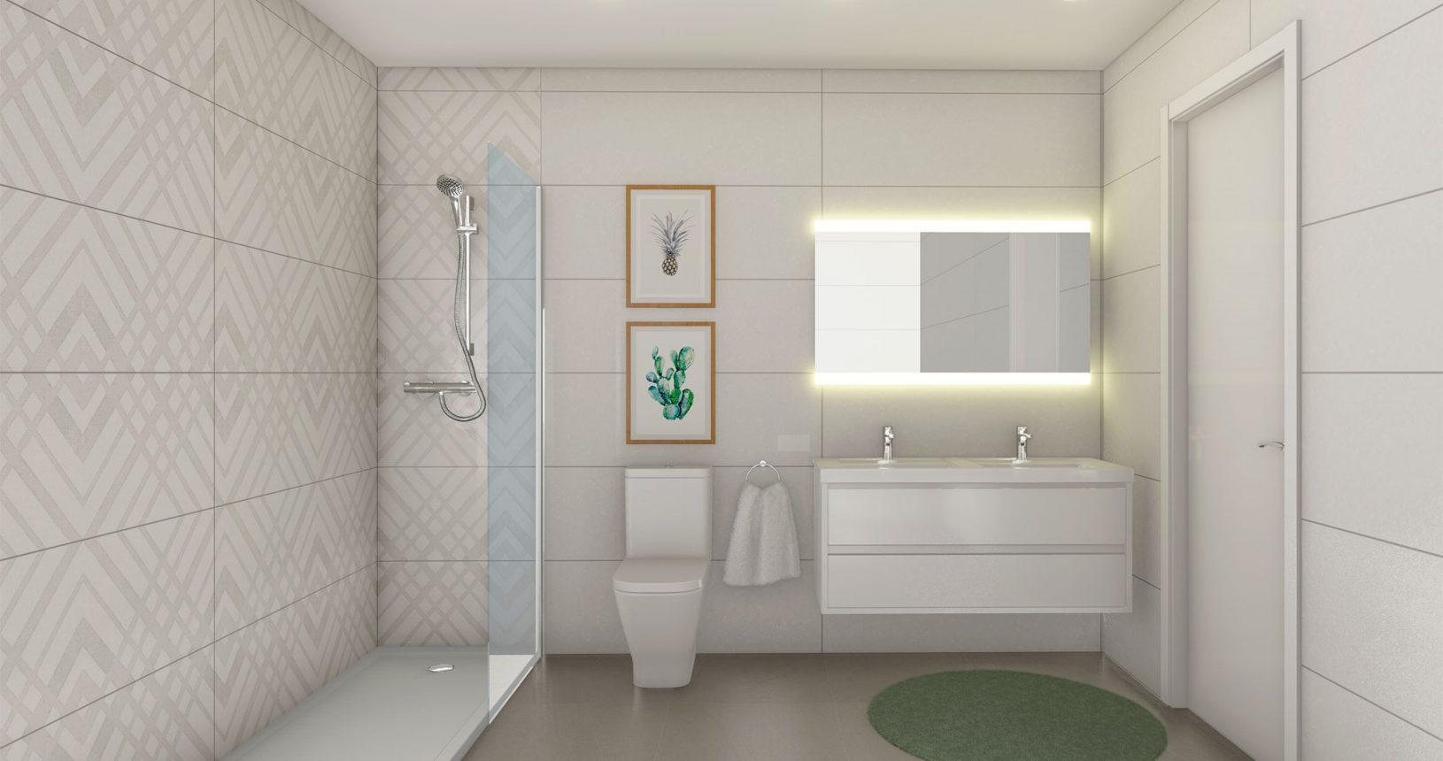 Cuarto de baño promoción inmobiliaria Ciencasas