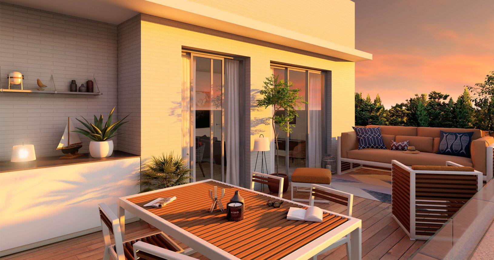 Terraza atardeciendo de edificio de obra nueva en Picanya
